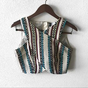 H&M   Divided Woven Tribal Crop Top   10